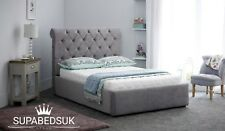 DOUBLE KING SIZE CHESTERFIELD UPHOLSTERED SLEIGH BED FRAME UK HANDCRAFTED 4FT 5F