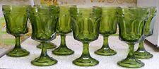"Set of 8 Anchor Hocking Fairfield Avocado Green Goblets Drinking Glasses - 6"""