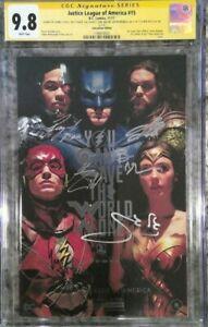 Justice League #15_CGC 9.8 SS_Signed Affleck Cavill Gadot Miller Momoa Fisher