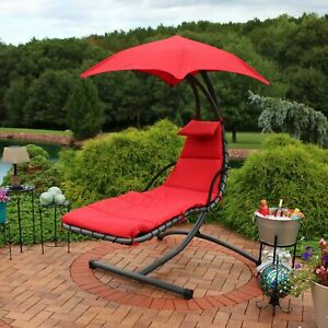 Sunnydaze Hanging Floating Chaise Lounge Patio Swing Chair with Canopy - Red