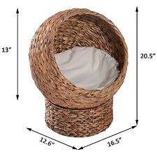 Elevated Cat Dog Cushion Bed Cot Garden Pet Seat Outdoor House Sleep Wicker Cozy