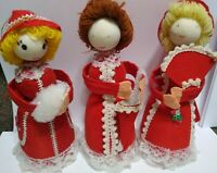 """Vintage Flocked Christmas LADY Ornaments Red Dresses about 7"""" lot of 3 Putz?"""