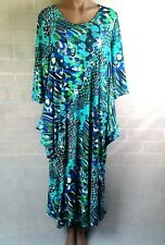 New Hourglass dress Size XXL Kaftan boho style stretchy blue green black