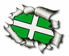 Ripped Torn Metal Look Design Devon West Country County Flag vinyl car sticker