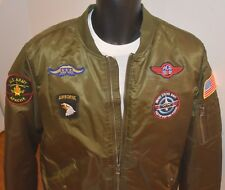 XRAY JEANS FLIGHT JACKET BOMBER STYLE ARMY GREEN SIZE XL LINED VINTAGE LOOK NEW