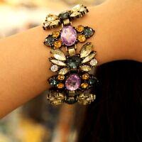 Bracelet Femme Fleur Violet Jaune Retro Vintage Original Soirée Mariage CT5