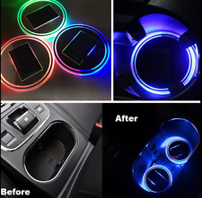 2Pcs Solar LED Light Car Cup Holder Bottom Pad Cover Trim Atmosphere Lamp NEW