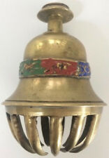 Rare Antique Solid Brass Bell - Original Patina - Hand Painted