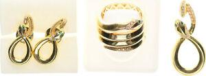 Schmuckset, Gold 750, Schlangen mit Diamanten und Smaragden, 32,6g (49847)
