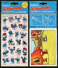 PRESSERS RUBBEL SCHLÜMPFE 1979 PUFFI SMURFEN SCHTROUMPF OVP SEALED RUB ON
