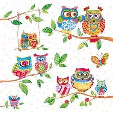 5 Napkins Owls Indian Summer Branch 33x33cm Tissue Decoupage Paper Party Craft