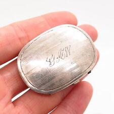 925 Sterling Silver Antique  Art-Deco Striped Design Slide Belt Buckle
