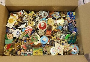 Assorted Lapel Pin Lot Gold & Silver Tone Enamel Vintage Now Almost 4 lbs
