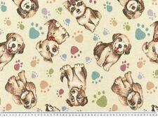 Schöner Deko-Jacquard-Stoff, Hunde, bunt gewebt, 140cm breit , Brokat