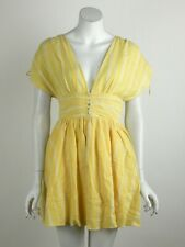 Free People Roll The Dice Mini Dress V-Neck Linen Short Sleeves Yellow XS New
