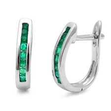 1.00Ct Round Green Emerald Channel Set Hoop Earrings in Heavy White Gold
