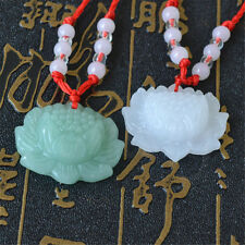 2pcs Jade Carved Lotus Flower Pendant Necklace Beads Rope Chain Lucky White Green