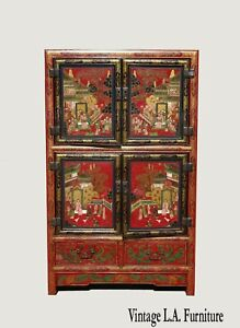 Vintage Red Lacquer Chinese Oriental Asian Storage Cabinet French Country