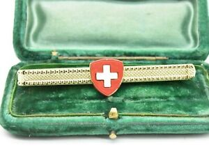 Vintage gold plated tie clip slide Art Deco Peaky Blinders Gift Interview #745