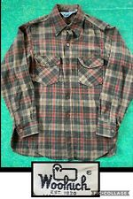Vintage Woolrich Plaid Flannel Button Shirt Green Red Beige Wool Made in USA 80s
