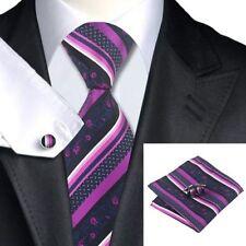 Para Hombre Negro Corbata Seda Tejida Y Rayas Púrpura + Pañuelo & cuflinks Juego Set 104