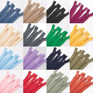 Quality Nylon Closed End Zips (Pack of 3) - Large Choice of Colours and Sizes