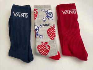 New Vans Logo Men's 3 Pack Skater Surfer Street Gym Crew Cut Socks Skull Red Blu