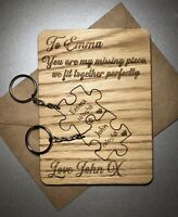 Personalised Wooden Anniversary Birthday Card Removable Keyrings Couples Jigsaw