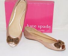 Authentic $198 KATE SPADE Rose Gold Leather w/ Copper Bow Ballet Flats Size 9 M