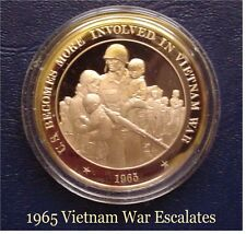 1965 - U.S. Becomes More Involed In Vietnam War  - Solid Bronze Medal