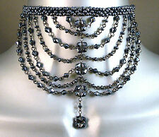 Gunmetal Hematite Goth Victorian Moulin Wedding Prom Ball Glass Choker Necklace