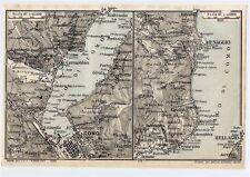 1927 ORIGINAL VINTAGE MAP OF VICINITY OF COMO LAKE MENAGGIO BELLAGIO ITALY