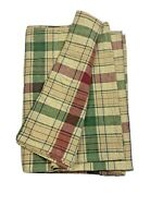 High End Fabric Tablecloth Table Linen Square Plaid Red Green Beige Tartan Check