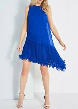 ladies NWT Coast UK size 16 royal blue lined Peyton Wire Pleated hem shift dress