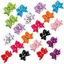 20pcs Dots Print Puppy Cat Kitty Dog Hair Bow Grooming Accessories Mixed Color