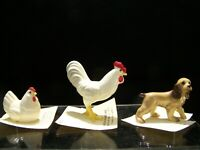 Hagen Renaker Inc. 3 Figures with Cards; 1986 Hen, 1989 Rooster & 1995 Dog