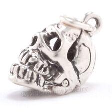 3D Moveable SKELETON SKULL 925 Sterling Silver Halloween Medical Pendant Charm