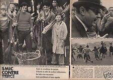 Coupure de presse Clipping 1975 Le SMIC contre le Tiercé Lad et Jockey (4 pages)