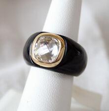Black Onyx Ring 14k Gold Bezel w/ Large Brilliant Center Stone Size 7 NWT *