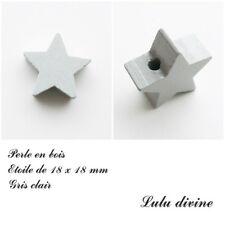 Perle en bois de 18 x 18 mm, Perle plate Etoile : Gris clair