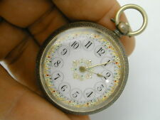 VINTAGE 1870S MULTI COLORED FANCY DIAL SOLID SILVER .935 POCKET WATCH AT 39 MM