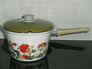 Vintage Large 1970s Enamel Cookware Saucepan Multi Coloured Chip Pan with Basket