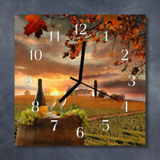 Glass Wall Clock Kitchen Clocks 30x30 cm silent Wine Nature Multi-Coloured