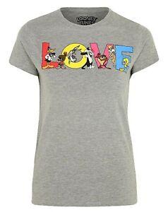 Mujer Camisetas Looney Tunes Personajes, con Brillos Love Logo
