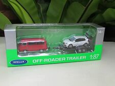 Welly 1/87 Off Roader Trailer VW T2 Bus Red With VW Golf GTi White