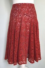 MOULINETTE SOEURS Anthropologie Rust Red Lace Swing Skirt UK Sz 10 Lined Party