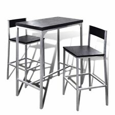 Breakfast Bar Set 1 Table 2 Stools Steel MDF Counter Height Dining Setting