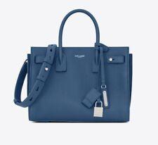 NWT YSL, YVES SAINT LAURENT Blue Calfskin Leather Classic Sac De Jour Medium Bag