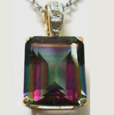 CIONDOLO ORO Splendido MYSTIC TOPAZ carati 6 mm.12x10 e 3 Diamanti gr.2 PENDENTE