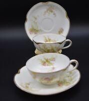 (2) Haviland H&Co Limoges Pink Roses & Gold Teacup & Saucer Sets Schleiger 456-a